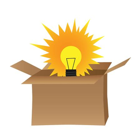 bulb in box represents think out of the box concept vector illustration