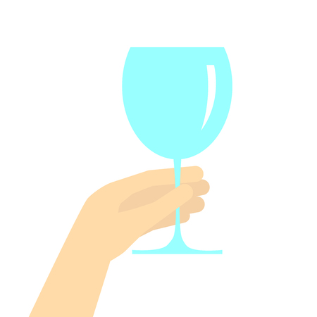 hand holding wine glass vector flat cartoon illustration isolated on white background