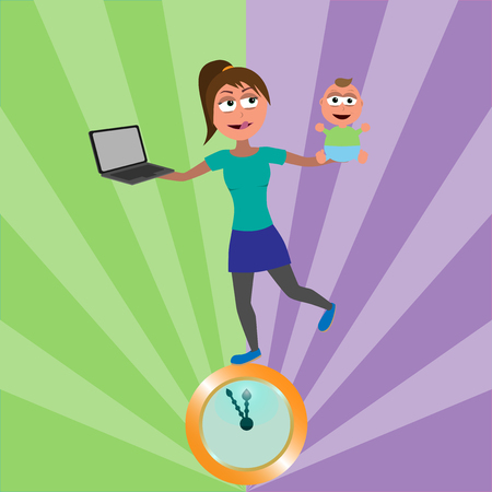 young woman balancing on golden clocks with baby and notebook in hands which represents work life balance funny vector illustration