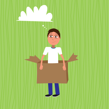 intended man standing in the paper box represents think out of the box concept vector illustration