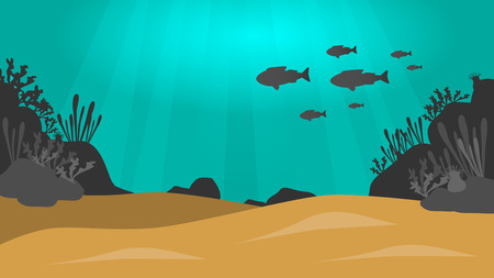 under the sea vector background with sand, fish,rock and plants silhouettes and sun beams Illustration