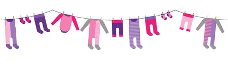 colorful hanging laundry for babygirl vector decorative garland isolated on white background