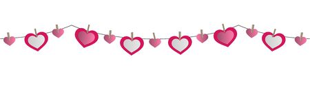decorative paper hearts garland isolated on white background
