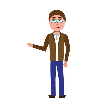 flat cartoon vector character of teacher isolated on white background