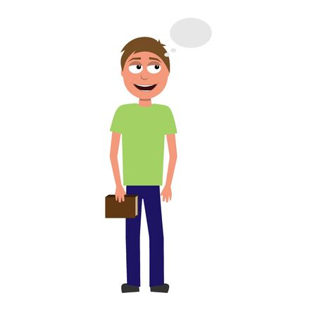 flat cartoon vector character of thinking man isolated on white background Vektorové ilustrace