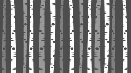 grey and white thin birch tree trunks design, decorative forest vector background