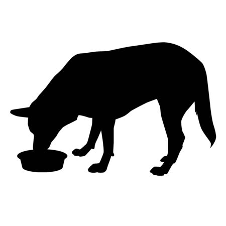 big dog feeding with muzzle in bowl from profile silhouette vector isolated on white background