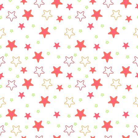 pink, green and orange rounded corners stars seamless girlish messy pattern Illustration