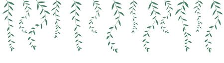 decorative natural rim, branches with small leaves vector illustration isolated on white background