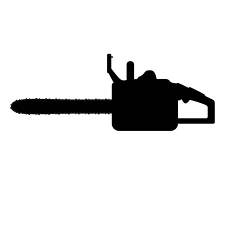 chainsaw black tool silhouette, vector isolated on white backgrouund Ilustración de vector