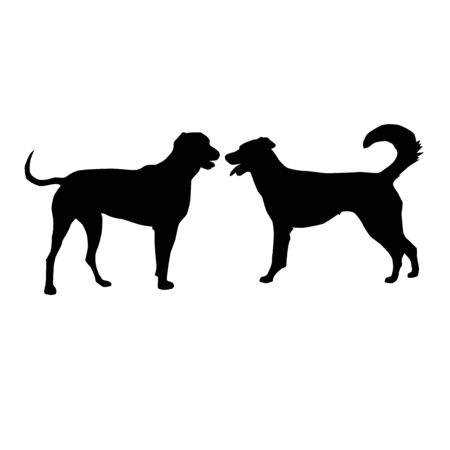 silhouette of two big playing dogs, vector isolated on white background