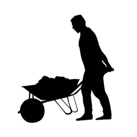 man walking with wheelbarrow full of soil from side vector silhouette Ilustração