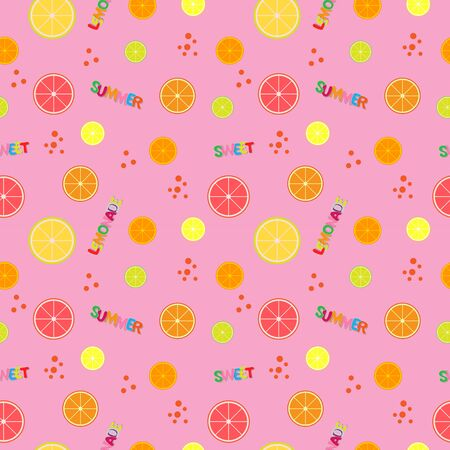 colorful citruses seamless pattern, brigth vector illustration with text sweet summer lemonade, modern fresh print of healthy fruit
