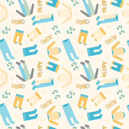 Babyboy Clothes, Pants and Socks Background, vector Seamless Pattern in blue, grey and orange colors with text hello happy baby Çizim