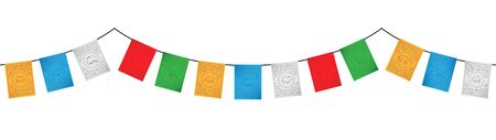 colorful tibetan flags decoration vector isolated on white background