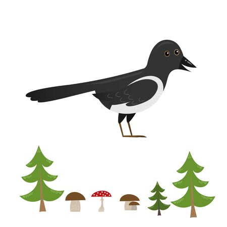 funny standing magpie from side with forest elements (tree, mushroom) isolated on white background, cute vector illustration for children
