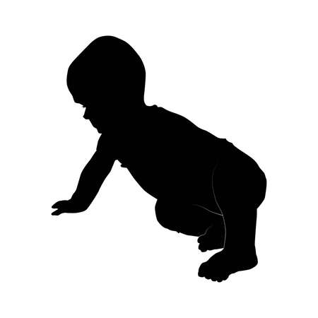 eight months baby sittng on side from profile, child evolution, vector silhouette isolated on white background