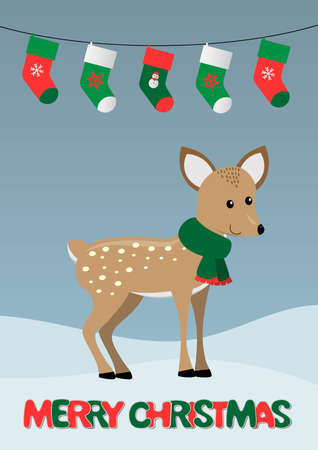 merry christmas cards with cute deer, stockings garland and snowy landscape