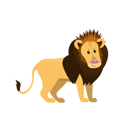cute cartoon flat lion from side, vector isolated on white, illustration for children