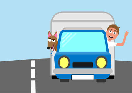 funny cartoon vector car with caravan and man and dog looking from the windows - they are going on holiday, smiling and waving, independent traveling concept
