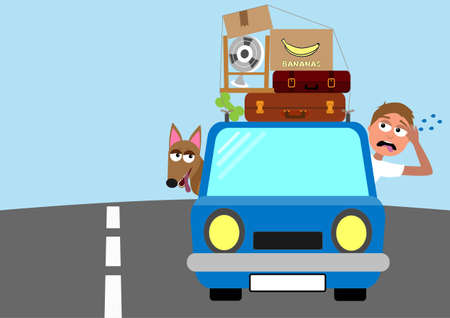 man and dog moving to a new home in a small car, funny vector illustration Иллюстрация