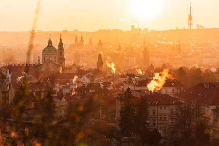 Prague cityscape during sunrise
