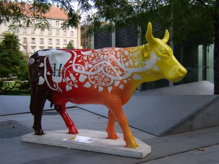 cow covered by violins and leaves Stock Photo - 1974785