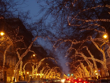 spectacle: spectacle of an avenue in Christmas lighting, Budapest
