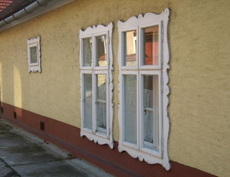 tawdry: spectacle of gandy window frames, Tata town, Hungary