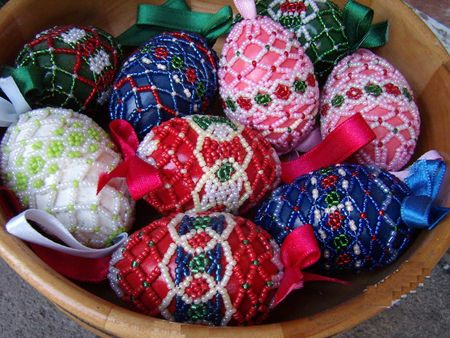 ornamented: Easter eggs ornamented by pearls on its