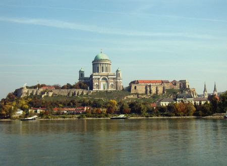 spectacle: spectacle of Esztergom Basilica and Castle from Slovakia, over the Danube river
