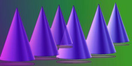 airborne: airborne cones, illustration Stock Photo