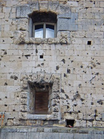 wartime: old wartime facade of Citadella Castle, Budapest, Hungary