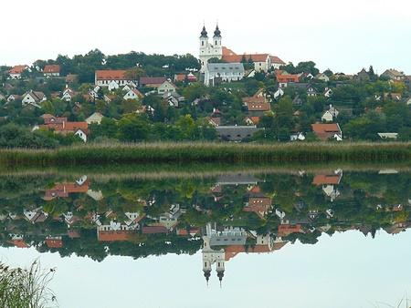 reflection of Tihany abbey, Balaton Inside Lake, Hungary photo