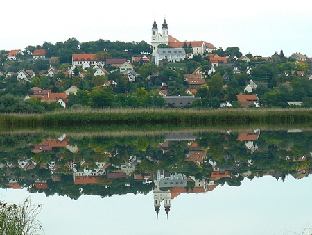 abbey: reflection of Tihany abbey, Balaton Inside Lake, Hungary
