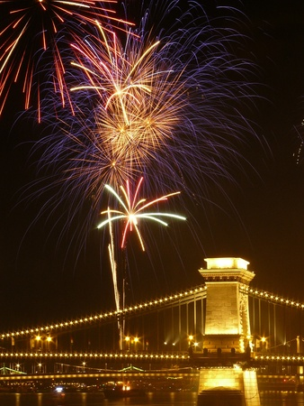 Saint Stephen King Day with firework, Budapest, Hungary photo