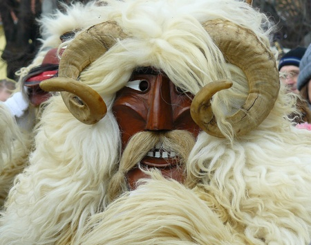 mohacs: Horn, mask, sheepskin, Mohacs town, Hungary Stock Photo