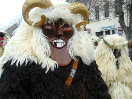 mohacs: Funny mask on traditional spring festival, Mohacs town, Hungary Stock Photo