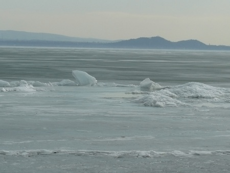 Floes on the Balaton lake, Hungary photo