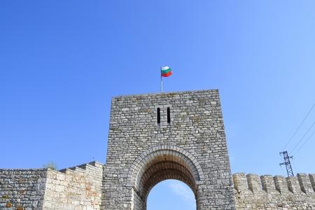 Cape Kaliakra Arched Landmark Bulgaria Waving Flag Touristic Destination
