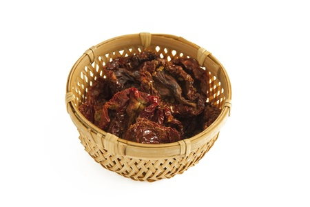 Sun-dried tomatoes in a basket