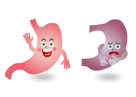 stomach pain: Character illustration of stomach