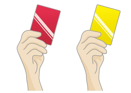 tarjeta amarilla: Ilustraci�n de la tarjeta amarilla y tarjeta roja