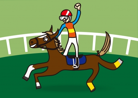 race horse: Illustration of a horse and jockey who won the race