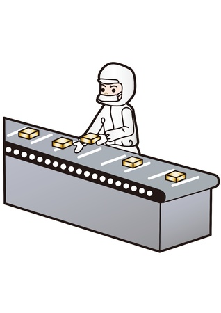 inspecting: Illustration of the person you want to work in a clean room Illustration