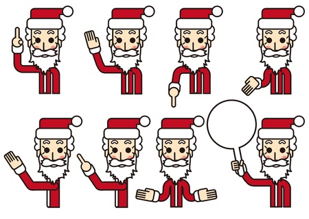 description: Pointing, Description, Santa Claus in various poses