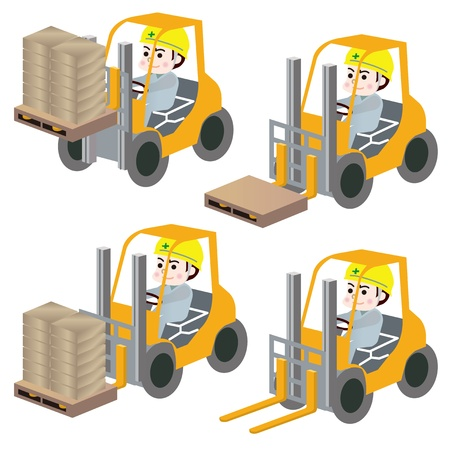 The worker who rides on a forklift Vector