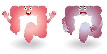 Karakter illustratie van de dikke darm