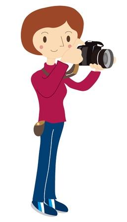 Vrouwen doen een fotoshoot Vector Illustratie