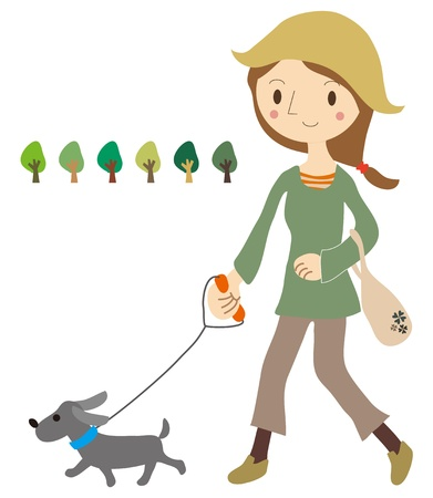 dog walking: Women take a walk with the dog Illustration